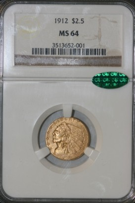 1912 $2.5 NGC MS64 3513652-001 CAC