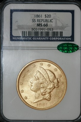 1861 $20 SS Republic MS60 5031991-053