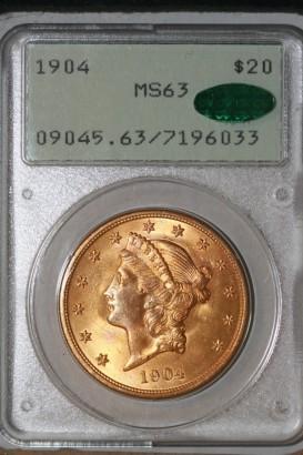 1904 $20 PCGS MS63 7196033