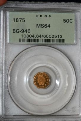 1875 50C MS64 BG-946 PCGS 6502513