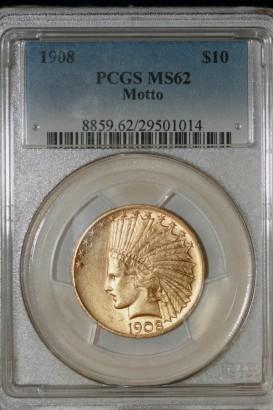 1908 $10 Motto MS62 PCGS 29501014