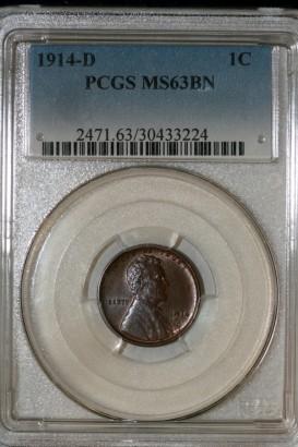 1914 D 1 Cent PCGS MS63BN 30433224