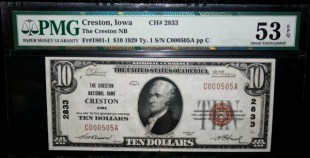 1929 $10 Creston National Bank Creston, Iowa Fr#1801-1 pp C Ch#2833 PMG AU53 EPQ C000505A