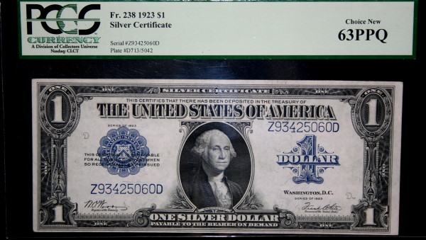 1923 $1 Silver Certificate PCGS Choice New 63PPQ – Harbor Coins