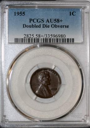 1955 1C Doubled Die Obverse PCGS AU58+ 33596980