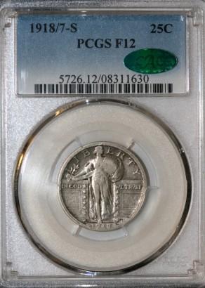 1918 over 17-S 25C PCGS F12 CAC 08311630